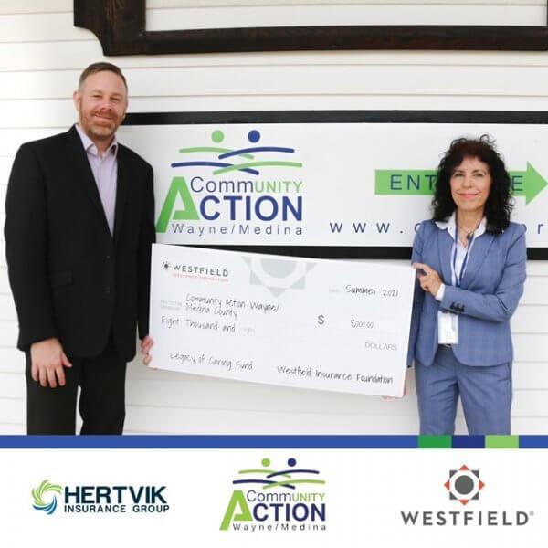 Pictured: Jack Hertvik, Hertvik Insurance Group and Melissa Pearce, President/CEO Community Action Wayne/Medina County.